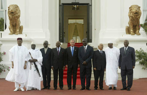 West African Presidents Taking a picture with George W. Bush, ex- president of the United States of America