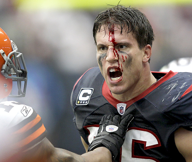 Texans linebacker Brian Cushing is fired up after being hit by Browns guard Shawn Lauvao in the second quarter of Sunday's game. Lauvao was called for a personal foul as Houston rolled by Cleveland, 30-12. (AP/David J. Phillip) KING MMQB: Eli has been great but Aaron Rodgers is eyeing historyBANKS: The Jets revival on D, the Giants' gutsy victory and moreBURKE: Flacco redeems himself with stellar performance against SteelersVIDEO: Giants make major statement | Tebow steps up for Broncos