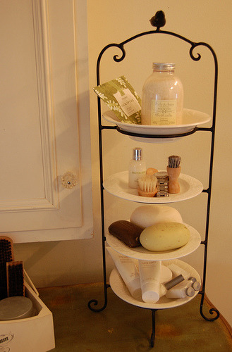 Serving stacked tray as bathroom shelf