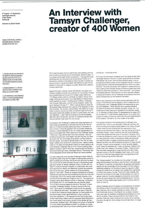 The Line Magazine interview with Tamsyn Challenger for EAF.