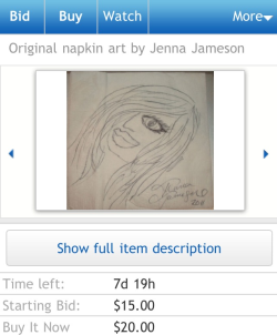 Original Napkin Art by Jenna Jameson? Are you fucking kidding me?