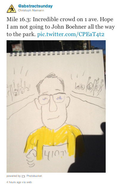 New York Cartoonist Live - Draws the NYC Marathon While Running It Christoph Niemann, a cartoonist from the New York Times, live-drew and tweeted his entire NYC marathon run. What did you do today?