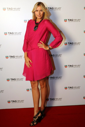 Maria Sharapova wore a Pink Pre-Fall Vanessa Bruno Dress to the TAG  Heuer Formula 1 Lady Steel and Ceramic Pavee Watch Launch Event in  Istanbul, Turkey on November 1st.