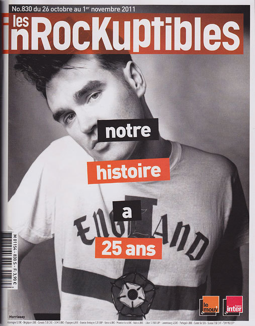 Morrissey on the cover of the last issue of the French magazine: Les Inrockuptibles for their 25th anniversary ! Photo: Renaud Monfourny (1991)