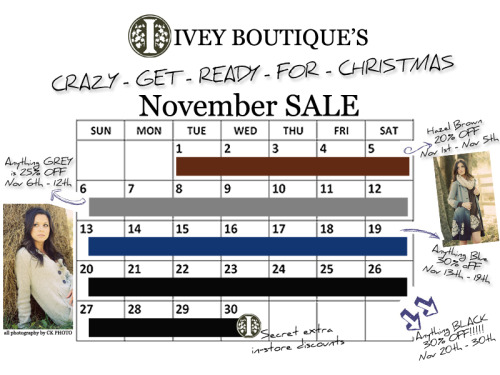"November is a very exciting month for us!!!  We have a color sale going on each week of this month!  This week is grey … and that is a huge color for this season so make sure you get in here and make the most of that deal.  We are so happy to have been named ""best women's clothing store"" in the Nashville Scene's Best Of Nashville. So we thought we'd give back… so november is dedicated to just that. giving back to you with these awesome discounts… just in time for christmas too.  ;)"