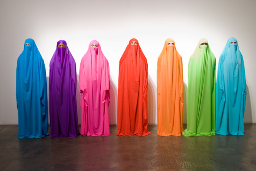 "hyperallergic:  HK Zamani, ""Fashion of the Veil"" (2009) performed at Track 16, Santa Monica, CA.  i was feeling pretty enraged by the sight of the latest macleans' cover… i can get behind this instead."