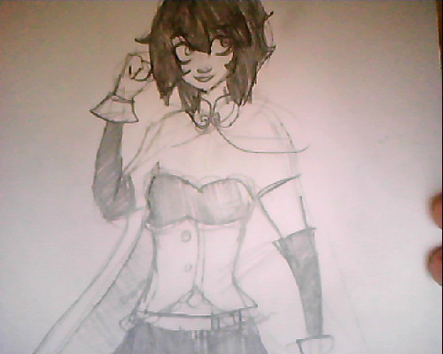 also i started a sketch of sayaka in school ….i messed up her upper body etc a little but i'll fix it later :D