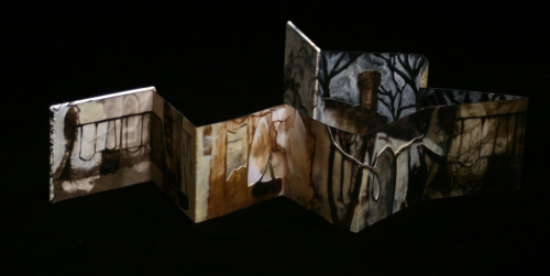 "Imagination, 2010 Accordion Book, Mixed Media 4"" x 24"" Claudia Wilburn"