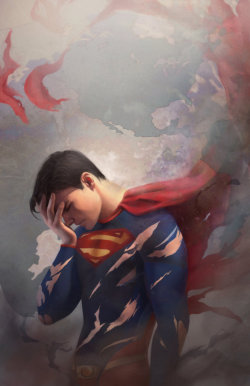 "sarahcross:  ""Tired Superman"" by Fiona Meng"