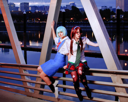 Myself as Mari Makinami and omgvictoria as Rei Ayanami from Neon Genesis Evangelion 2.0: You Can (Not) Advance! (Photography by Tom Good)