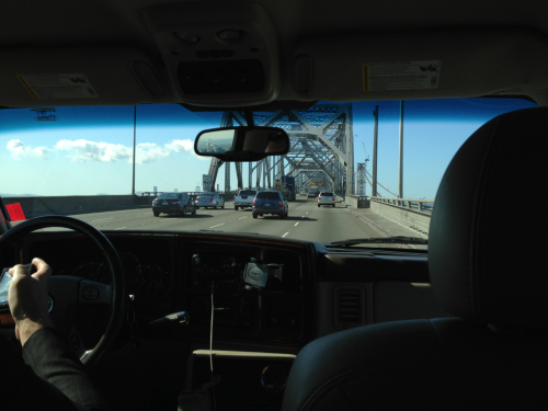 Oakland bridge.  Almost to hotel. Just survived a near fatal crash!