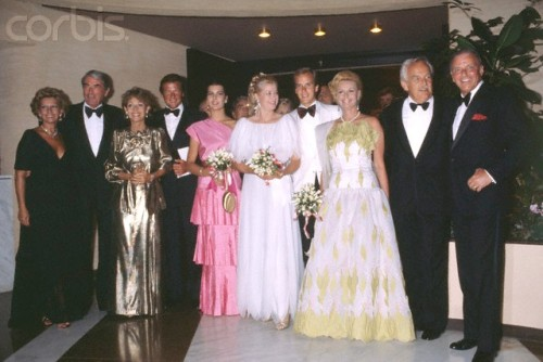 (Left to Right) Gregory Peck, Veronique Peck, Philippe Junot, Princess Caroline of Monaco, Princess Grace Kelly of Monaco, Prince Albert II of Monaco, Barbara Sinatra, Prince Rainier III of Monaco, Frank Sinatra. Grace and Gregory together, OMG!