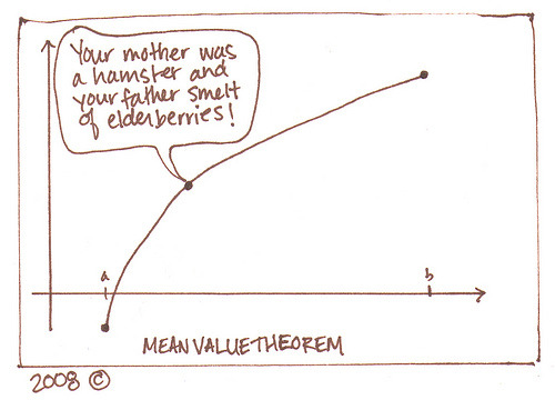 sbmat131:  The Meanest Value Theorem: while spouting Monty Python lines, the point on the graph actually does illustrate the theorem from calculus, which says that a differentiable function over a closed and bounded interval has some point where its derivative equals the average (i.e., mean) change over the interval.