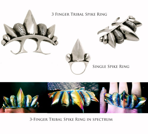 Classic silver tribal spike rings: 3-finger, 1 finger, and single spike ring. We just made a prototype of the 3-finger tribal spike ring with an iridescent spectrum finish. Thinking we should make more…
