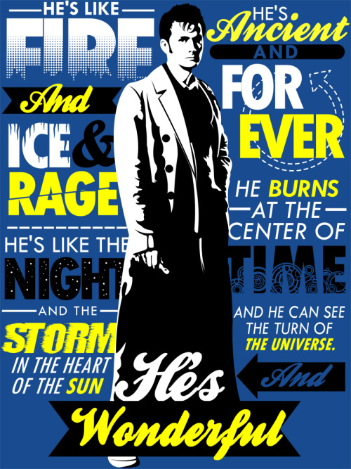 tomtrager:  Doctor Who Typography.  Available as a shirt at: http://www.redbubble.com/people/tomtrager/works/8025685-fire-and-ice-and-rage-doctor-who