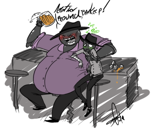 squidbiscuit:  Drunk Crew~HB Seems like he'd be a fun bar-mate….Slick…not so much.