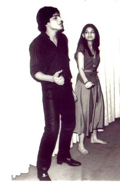 Nazia Hassan (with her brother)