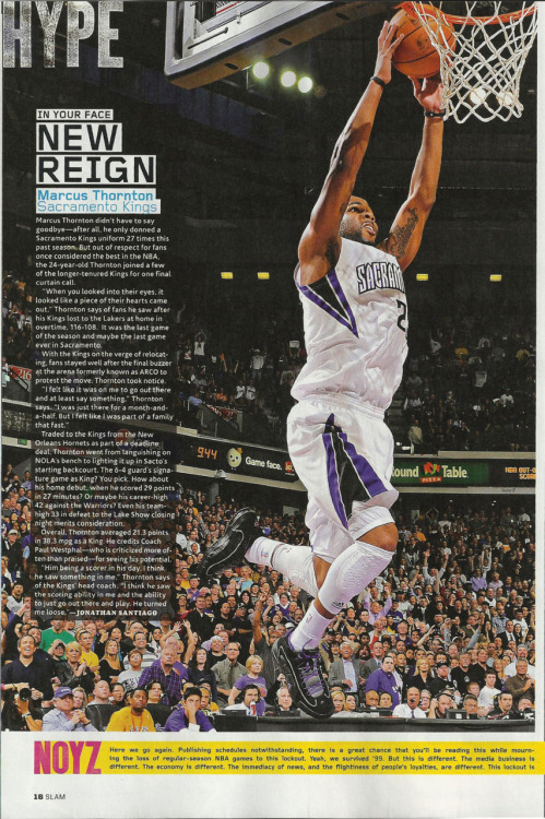 A feature I wrote on NBA guard Marcus Thornton for SLAM Magazine, issue no. 153.