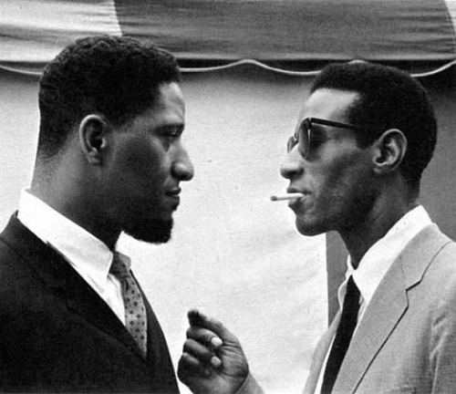 buttondownmoda:  mr-soulreparations:  Sonny Rollins (left). Max Roach (right).  Yes!!  so sick.