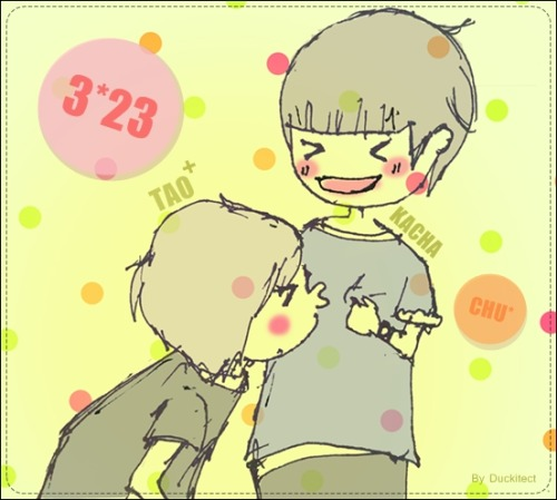 [Fan Art] Tao and Kacha @Terminal 21  07-11-11 Tao kiss Kacha's T-shirt    they're so sweet