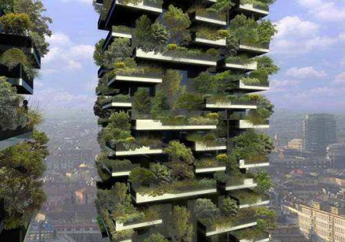 "urbangreens:  Milan's Vertical Forest | greenmuze.com  ""The Bosco Verticale (Vertical Forest) was designed by Stefan Boeri Architects as part of their BioMilano vision  to incorporate 60 abandoned farms into a greenbelt surrounding the city. The Bosco Verticale building has a green façade planted with dense forest systems to  provide a building microclimate and to filter out polluting dust  particles. The living bio-canopy also absorbs CO2, oxygenates the air,  moderates extreme temperatures and lowers noise pollution, providing  aesthetic beauty and lowering living costs."""