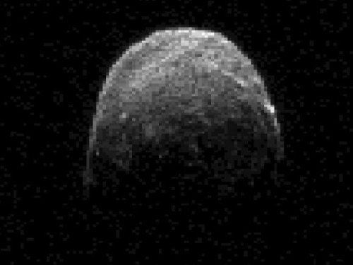 Just In: NASA's Latest Image of Asteroid 2005 YU55 NASA's Deep Space Network antenna in Goldstone, California has captured new radar images of Asteroid 2005 YU55 as it begins its close pass by Earth. The image above was taken on Nov. 7 at 11:45 a.m. PST (2:45 p.m. EST/1945 UTC), when the asteroid was approximately 1.38 million kilometers (860,000 miles) or about 3.6 lunar distances away from Earth. It's not a great image, but there should be better images available as the asteroid gets closer. Several telescopes will be tracking of the aircraft carrier-sized asteroid throughout the pass. Goldstone's 230-foot-wide (70-meter) antenna has been keeping an eye on it since Nov. 4, and the Arecibo Planetary Radar Facility in Puerto Rico will begin observations on Nov. 8, as the asteroid will make its closest approach to Earth at 3:28 p.m. PST (6:28 p.m. EST/1128 UTC). The Slooh telescope will be hosting a live webcast of the flyby on Nov. 8, 2011. Find out more at the Slooh Events page.