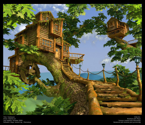 Not a real treehouse. A virtual one I modeled for the love of them http://charlielui.net/images/stories/portfolio/item_original/1_1267174359.jpg