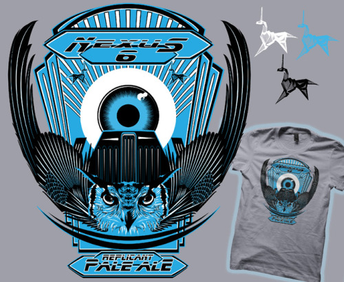 "(via Nexus 6 Replicant Pale Ale | Tshirt Contest) I have entered my Blade Runner shirt at a beer themed contest at ""Tshirt Contest"". the contest is running for the next week (11/7-11), so if you want to see it printed on a shirt and buy it for only $10 cast your vote now!"