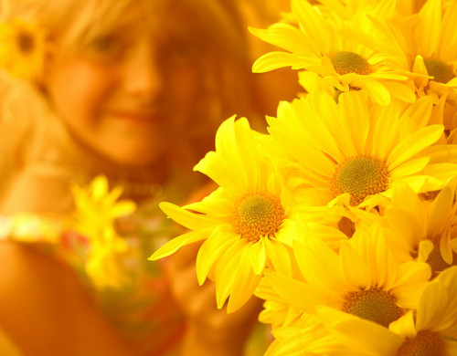 Little Girl Smiling With Yellow Flowers by Pink Sherbet Photography on Flickr.