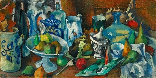 Heinrich Nauen Still Life with Fruit and Bottles of Wine 1924