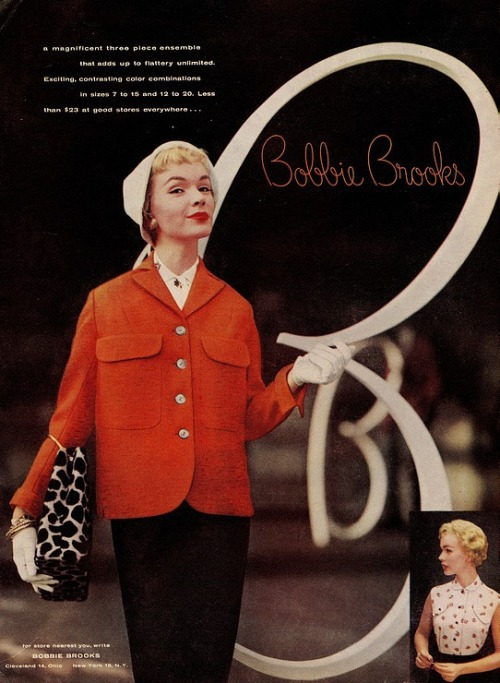 theniftyfifties:  Bobbie Brooks ladies fashion advertisment, 1950s.
