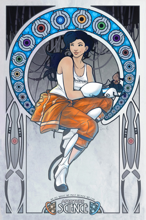 "justinrampage:  Sara McSorley throws down an amazing Art Nouveau style piece and gives it an awesome Portal 2 enhancement. Created for a good cause too! ""This is a poster I did for Desert Bus For Hope 5. They'll be auctioning off a 12"" x 18"" print of it for the children"" - Sara Art Nouveau Chell Poster by Sara McSorley / Mwar"