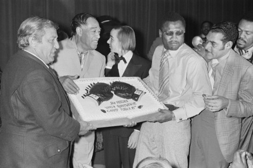 Boxing legend Joe Frazier with none other than Duke Ellington after defeating Muhammad Ali at Madison Square Garden in New York City on March 8, 1971. Mr. Frazier died tonight at the age of 67.
