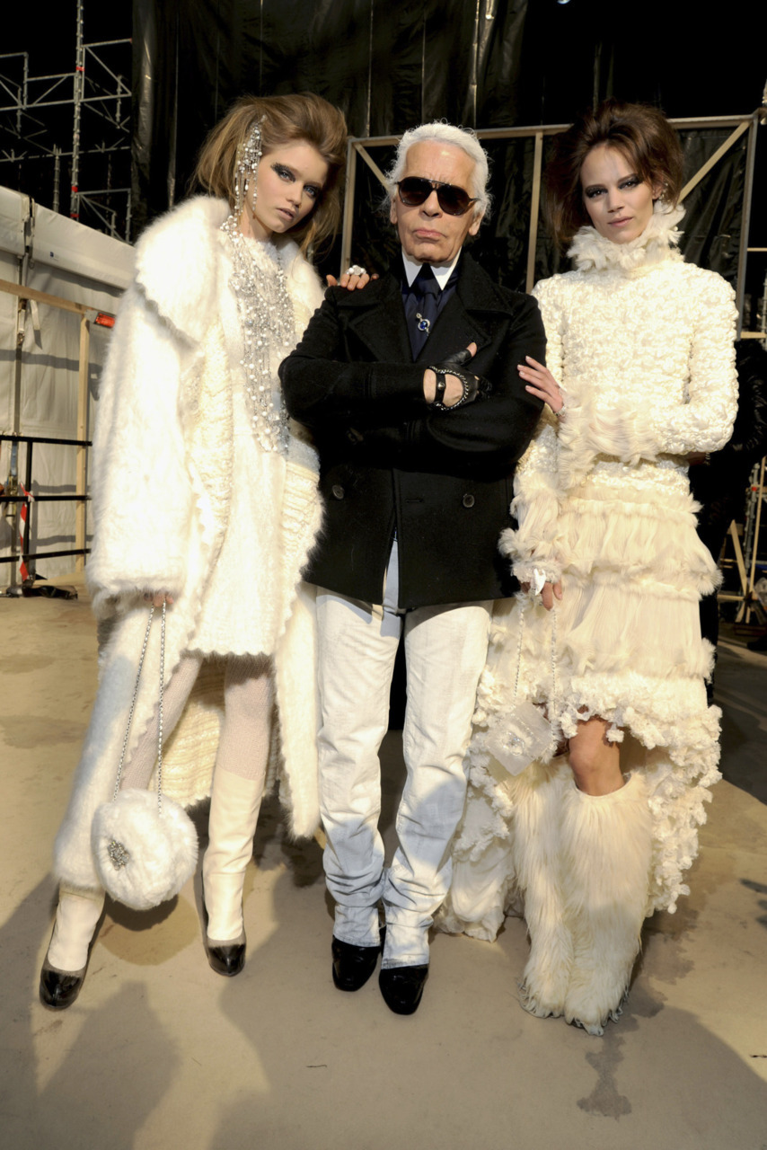 Abbey, Karl and Freja backstage at Chanel Haute Couture (gonna miss this epic trio.)