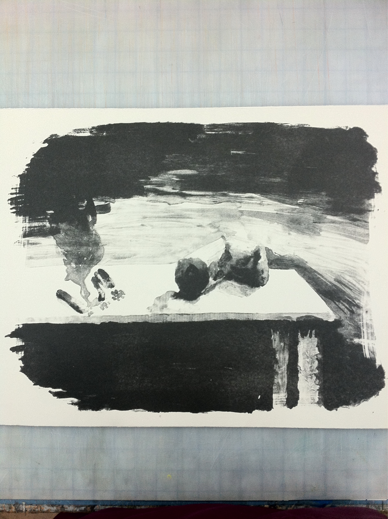 New litho I printed yesterday. It's a touché wash study of some cigarette butts and a smashed beer can.