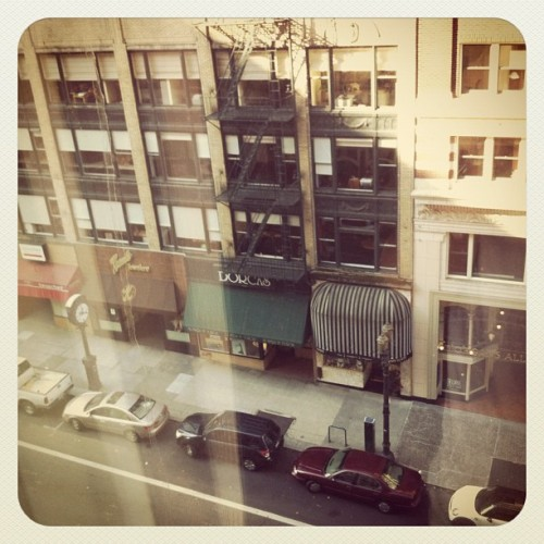 #pdx #hotel #veiw #marriot #broadway #street #cars #fireescape #city #buildings #morning #hungover #fun #window  (Taken with Instagram at Portland Marriott City Center)