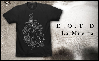 "For this year Day of the Dead celebrations, California T-shirt company extraordinaire  La Muerta released a very limited run of my ""D.O.T.D"" original design. So stoked with the final result. Hope you managed to get one / Pour les célébrations du Jour des morts cette année, La Muerta, merveilleuse compagnie californienne, à mis en vente une série limité de t-shirts avec un design originale que j'ai réalisé. J'espère que vous avez mis la main dessus."
