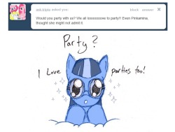 ask-the-waves:  I would love to party with you! I'll um… bring some bottles of Berry Punch, if you'd like… as apology for my reaction before… I still feel guilty even though that was a completely different Pinkie (I already apologized to her as well).  That's ok!  I had a reeeeeeeeeeeeeeeeeeeeeealy tall ladder! This time, we can party on the ground! YAY!! ((thanks for the quick response!! Everyone follow http://ask-the-waves.tumblr.com/ she's super adorable!))