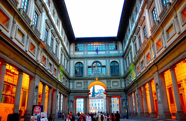 "| ♕ |  Galleria degli Uffizi - Florence  | photo/caption by © Azlan H  ""Uffizi literally means ""offices"".Initially it was a government office building. But Galleria degli Uffizi in this building housed the Medici's private art collection which has turned into an art museum. I did not visit the Gallery since the line was very, very long."""