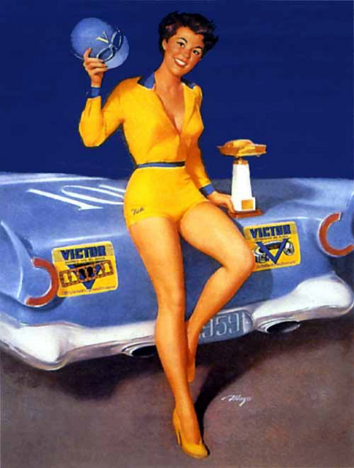 Mayo Olmstead (by oldcarguy41)  This painting appeared in a an advertisement or calendar for Victor Oil Seals in 1959.