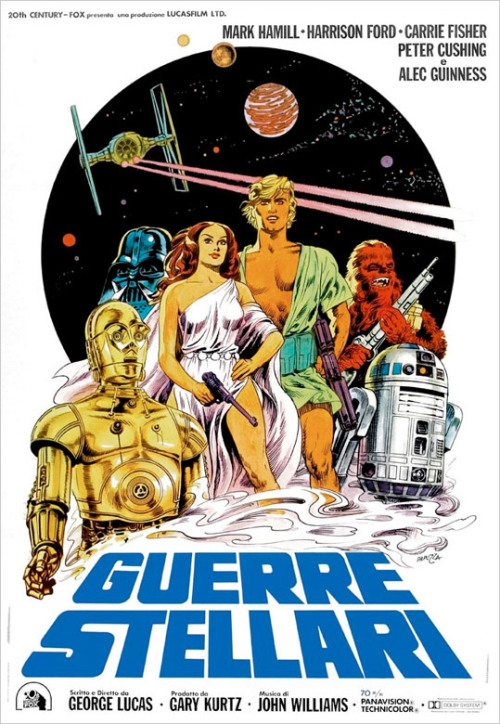 dirtyriver:  Star Wars Italian poster by Michelangelo Papuzza featuring the whole cast, including Chewbacca but not Han. Too bad… I'd have loved to see him depicted in the same sexy way as Leia and Luke.