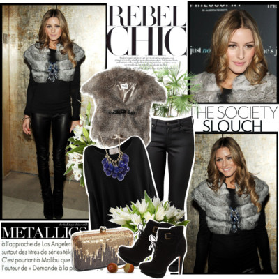 Celeb Style: Olivia Palermo by thecolie featuring a cropped vestFRIENDLY HUNTING black top€559 - veryeickhoff.comAlice by Temperley cropped vest$410 - net-a-porter.comSkinny leg jeans$80 - witchery.com.auSam Edelman lace up boots$250 - endless.comTasha sequin clutch$65 - nordstrom.comTen Thousand Things cluster necklace$2,175 - barneys.comIkea Ikea Ps Brunn$15 - ikea.comTory Burch | Metallics$365 - toryburch.comFlowerbox£25 - flowerbox-leicester.co.uk