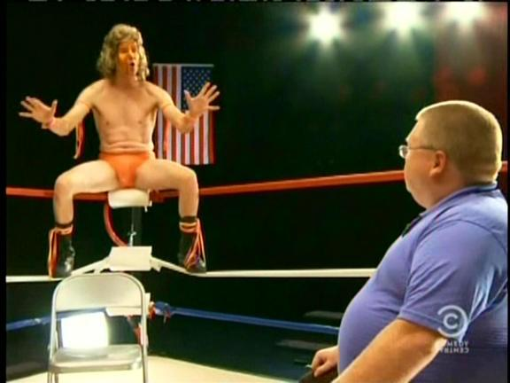 TV Show: Tosh.0 Episode: Episode 6 - Crying Wrestling Fan (Season 3, Episode 6) Air Date: 2/15/2011 Parody Wrestler(s) captured: Ultimate Warrior (portrayed by Daniel Tosh) WIKI Page: Tosh.0 - Episode 6 - Crying Wrestling Fan