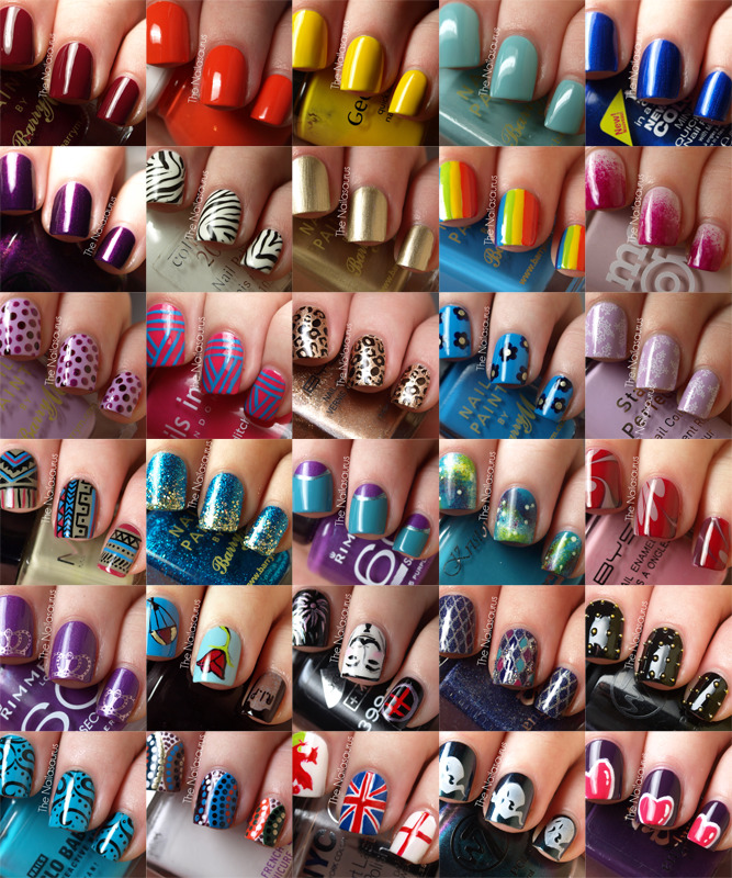 If this doesn't give you inspiration to get a mani, I don't know what will. Nails are accessories. Treat them as such. They can be the finishing touch to an outfit. -Brandis glamour:  Today on Girls in the Beauty Department: 31 days of nail polish ideas, courtesy of The Nailasaurus