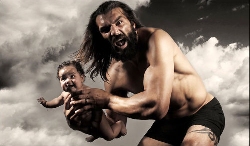 French Rugby player Sebastien Chabal with his daughter.