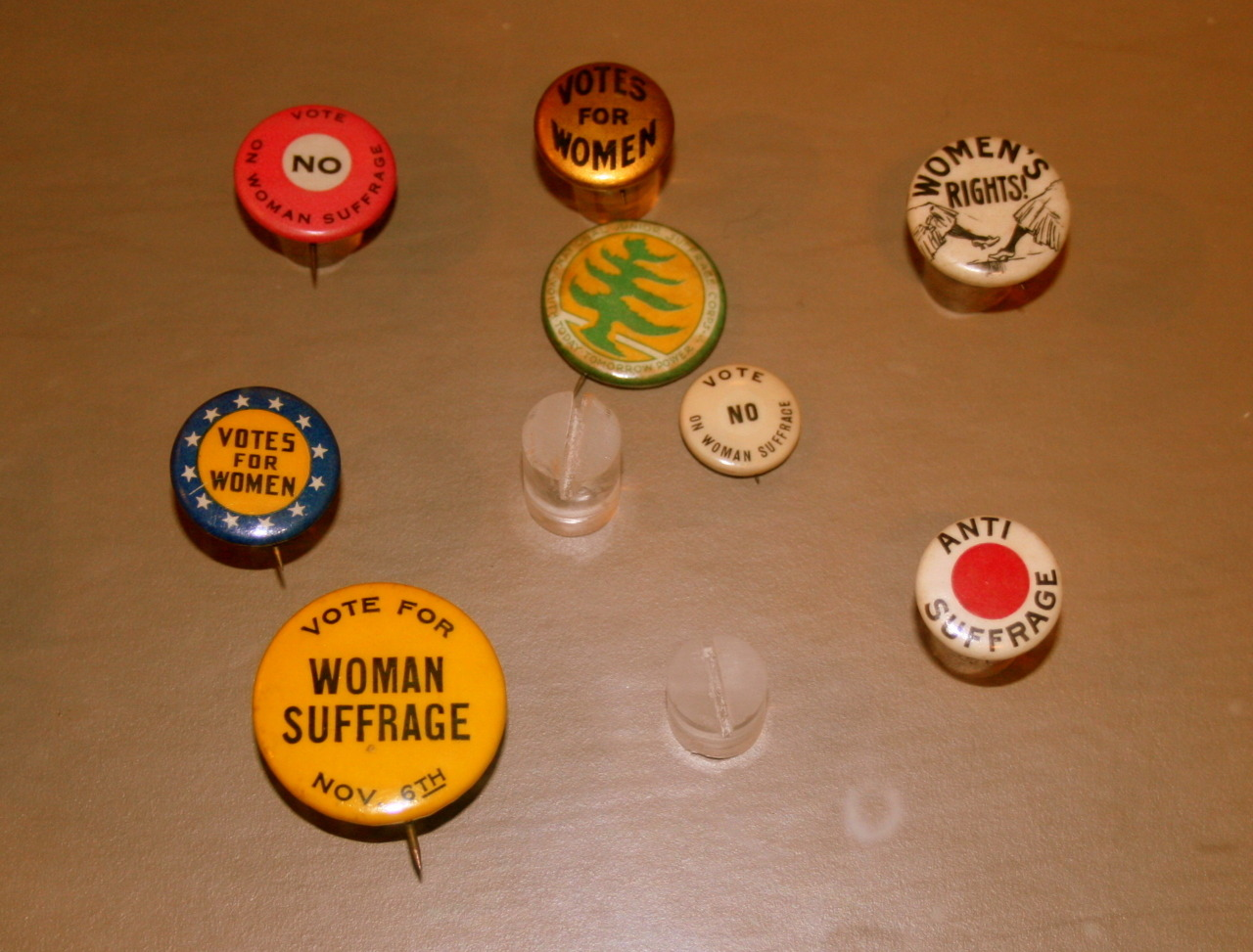 Badges inside the Women's Rights National Historical Park, NY, USA. November 2011