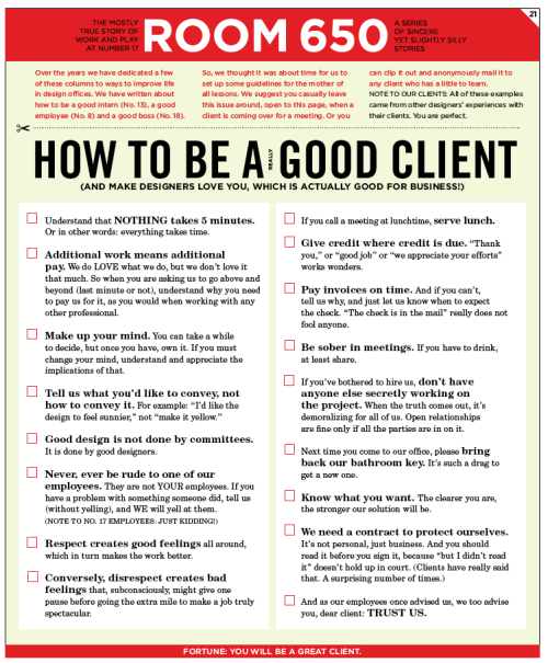 consumerbehaviourself:  How to be a really good client.