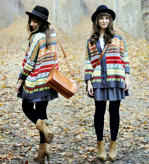 iliketowindowshop:  Maddy C. via Lookbook  I love intricate knitted cardigans, they're perfect for autumn and winter.