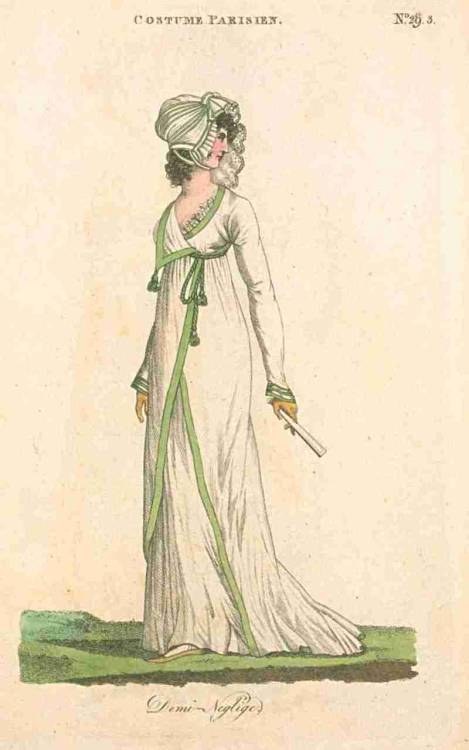 Journal des Dames et des Modes (published in Fashions of London and Paris), July 1800.  In the first few years of existence, Fashions of London and Paris published re-printed plates from Journal des Dames et des Modes (Costume Parisien).  Some of them are replicas of other plates I have posted, but some I haven't seen before- like this one.