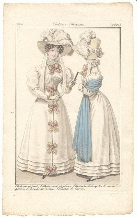 Journal des Dames et des Modes, 1826 Those little plaid bows are adorable!